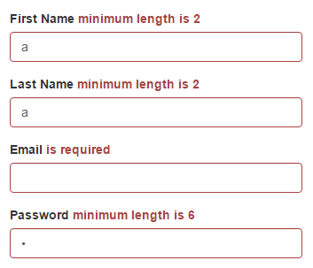 Sign Up page's min length validation messages