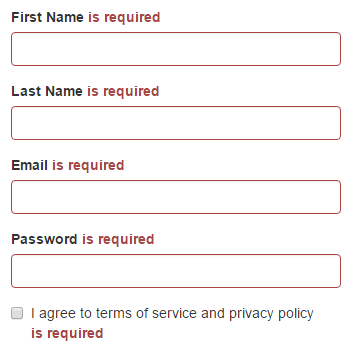 Sign Up page's required validation messages